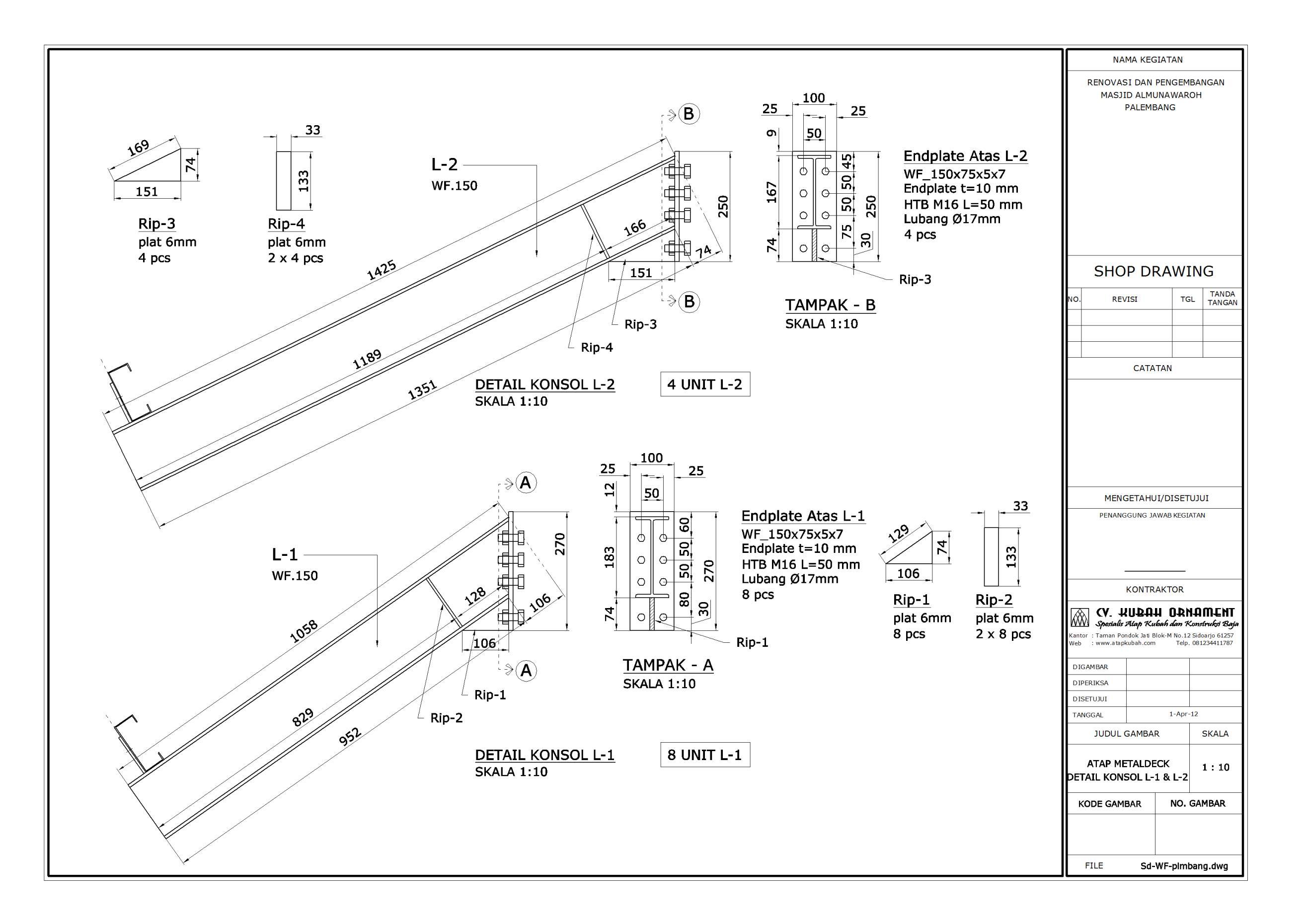 Desain Konstruksi Baja Atap WF - Konstruksi Besi Baja