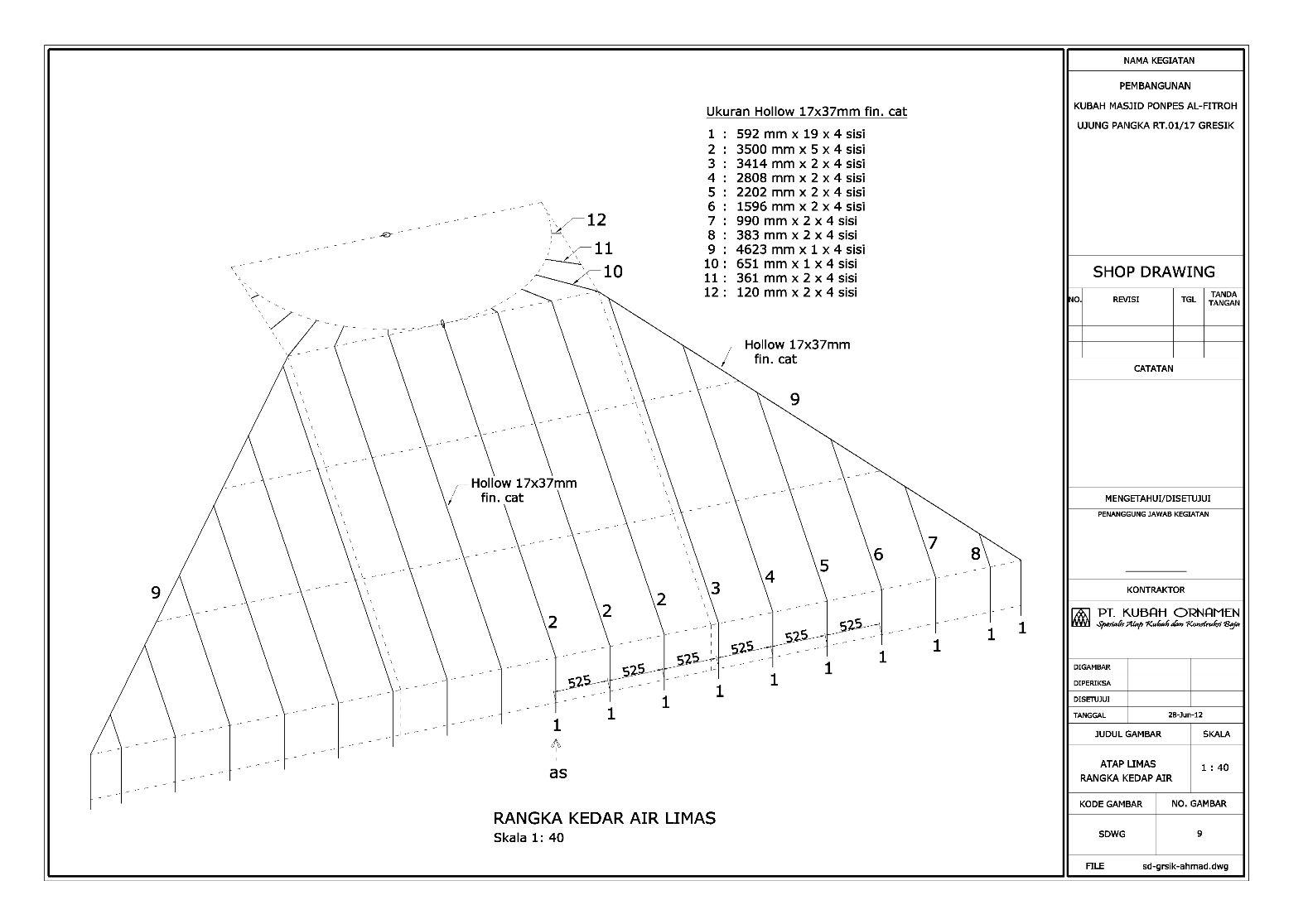 isometri,tampak,potongan,detail,kuda-kuda,limas,kerucut,cremona