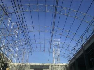 konstruksi besi, baja, berat,atap,lengkung,aula,gedung,gor,stadion,cnp,gording
