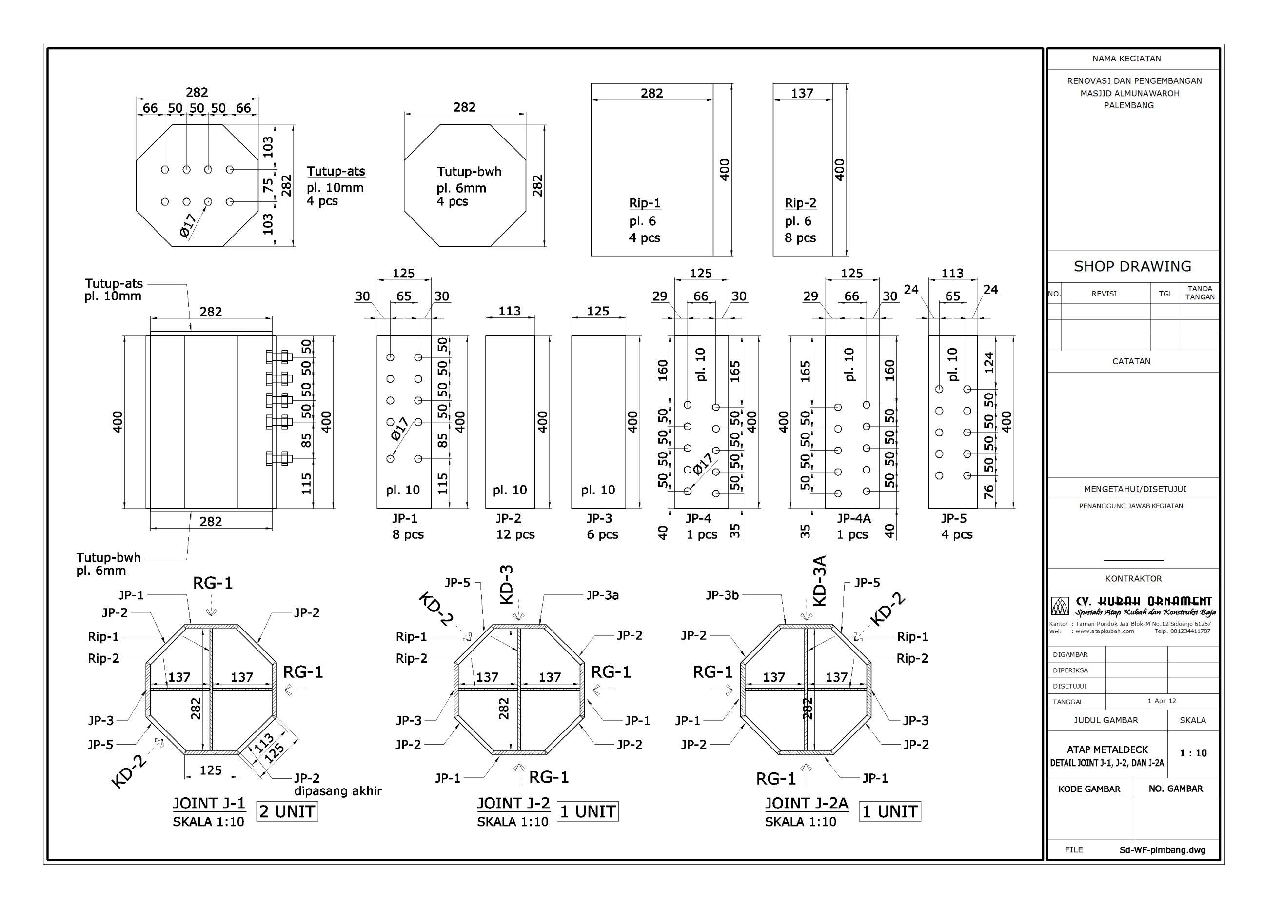 Konstruksi,baja,wf,atap,detail,masjid,HTB,Las,plat