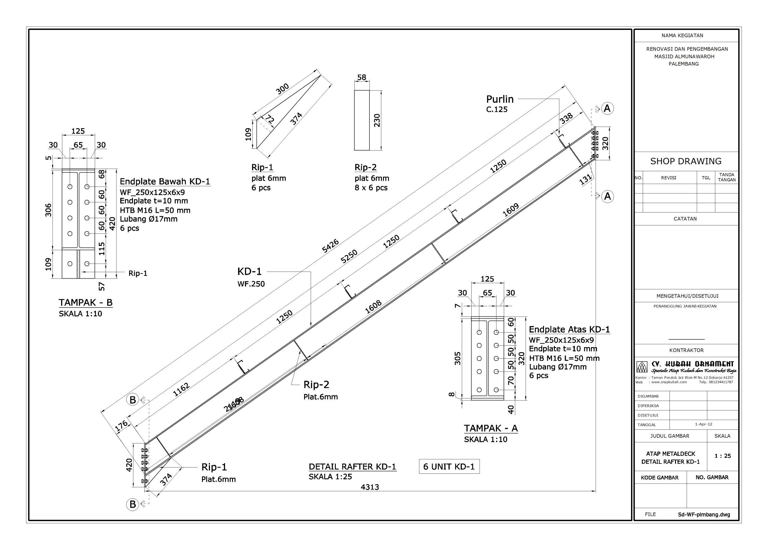 Desain Konstruksi Baja Atap Wf Atap Kubah Rangka Struktur Space