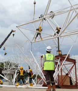 rangka struktur atap space frame konstruksi besi baja berat bola conus harga murah